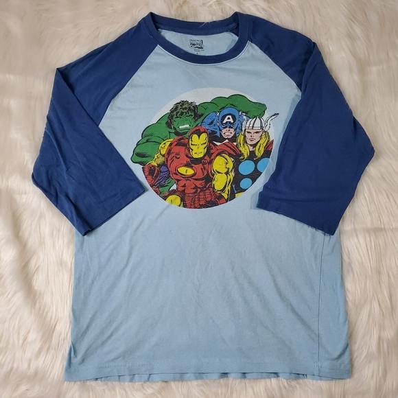 Marvel Avengers 3/4 Sleeve Graphic Tee - Large